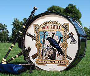 image Twin Cities Metro Pipe Band bass drum with logo