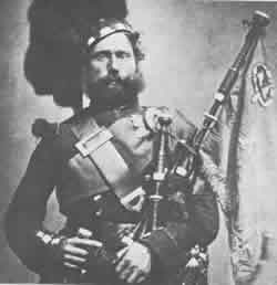 historical image of Scottish bagpiper